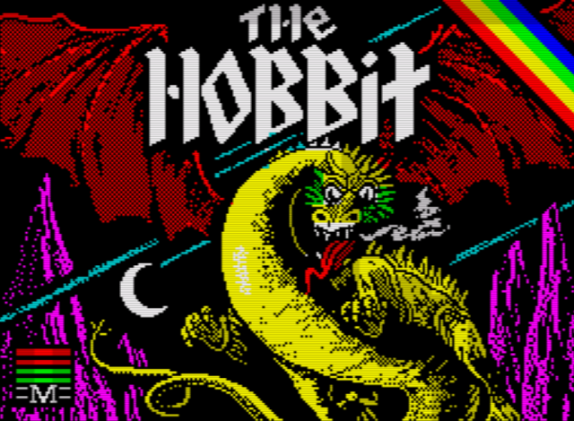 The Hobbit Text Adventure Title Screen (ZX Spectrum 128K)